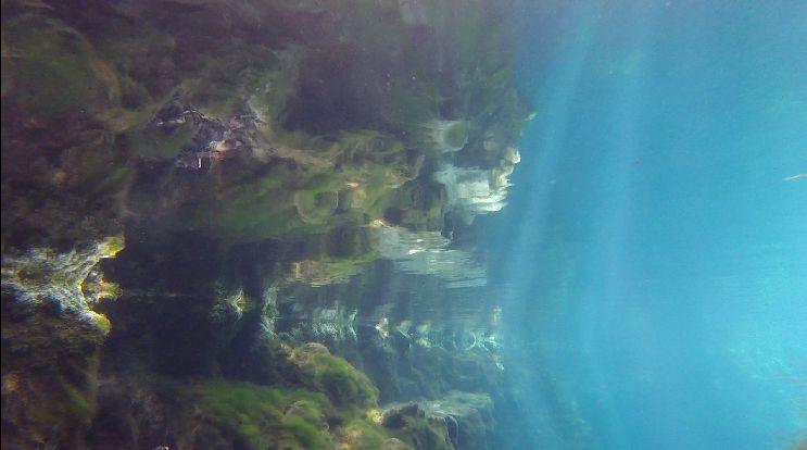 blue water under water
